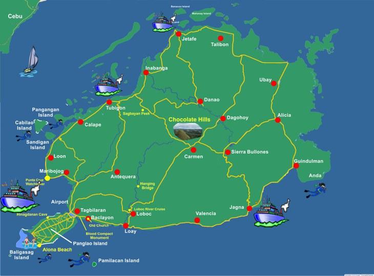 Karte Philippinen.Karte Von Bohol Philippinen